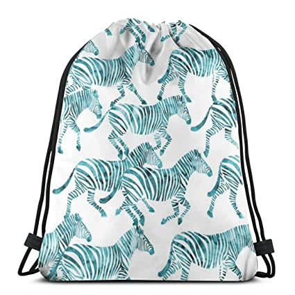 3bef5f149ff8 Amazon.com | Zebras In Teal_1824 Drawstring Backpack Gym Spacious ...