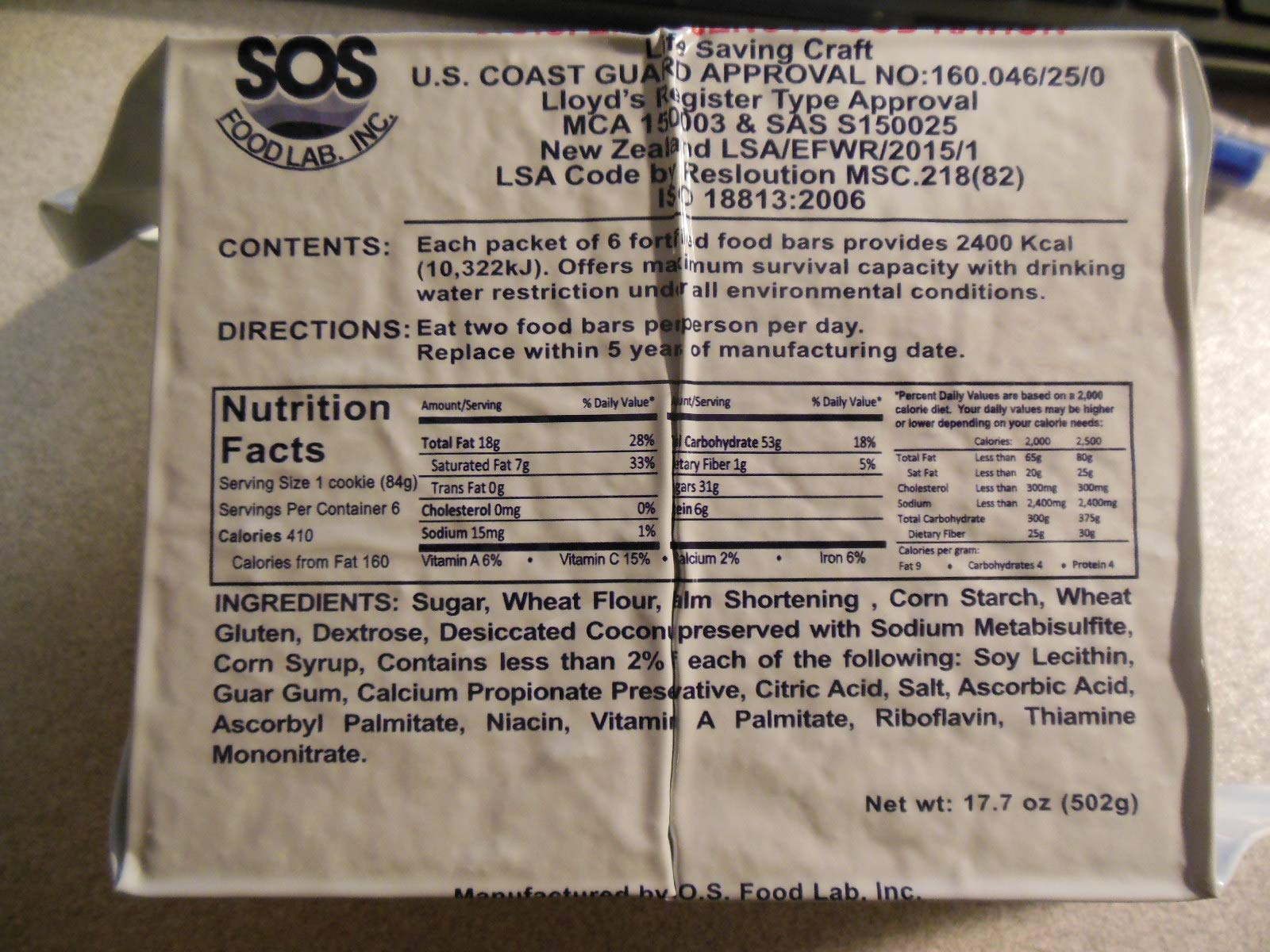 SOS FOOD LAB 2400 CALORIE EMERGENCY FOOD BAR PACKETS (U.S. Coast Guard Approved) - 8 Packets