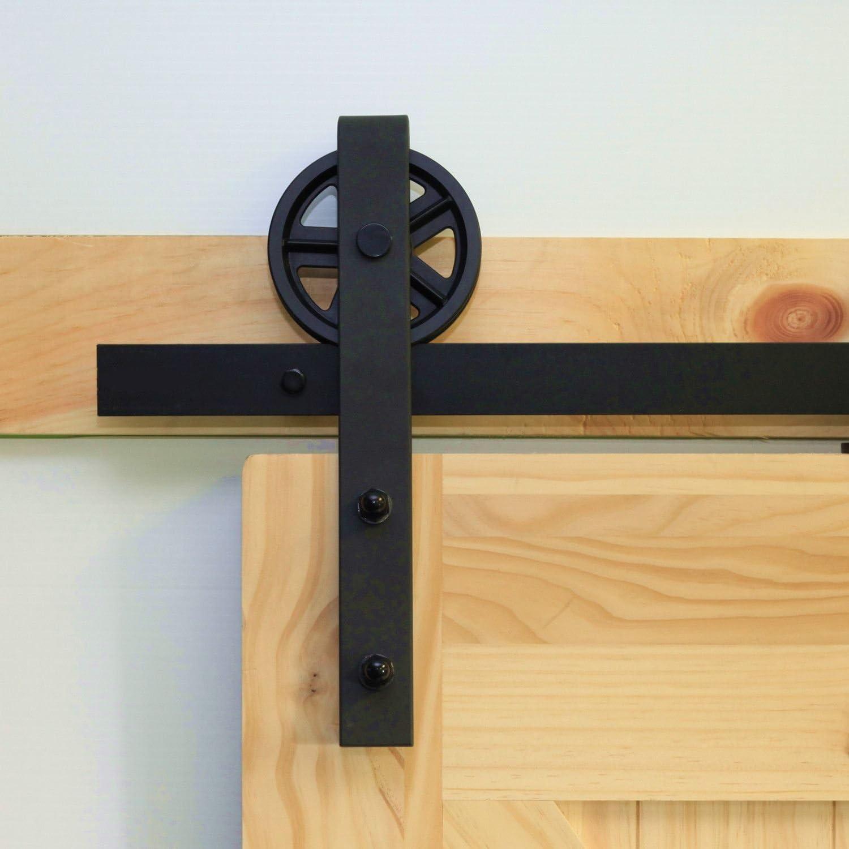 Kit de herramientas para puerta corredera de casa de una sola barra, 5 – 20 pies, diseño recto, negro rústico con perchas de fuerza industrial, perfecto para garaje, armario, interior y exterior