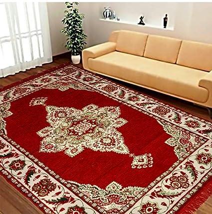 STOP N SHOPP Zeometric Ethnic Velvet Touch Abstract Chenille Carpet (5Feet X 7Feet) Multi