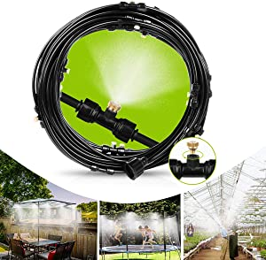 IWONGO Outdoor Cooling Misting System - Misting Line 59FT(18M) with 26 Brass Mist Nozzles, Outdoor Mister for Patio, Fan, Garden, Greenhouse, Trampoline for waterpark - 3/4'' Adapter, Black