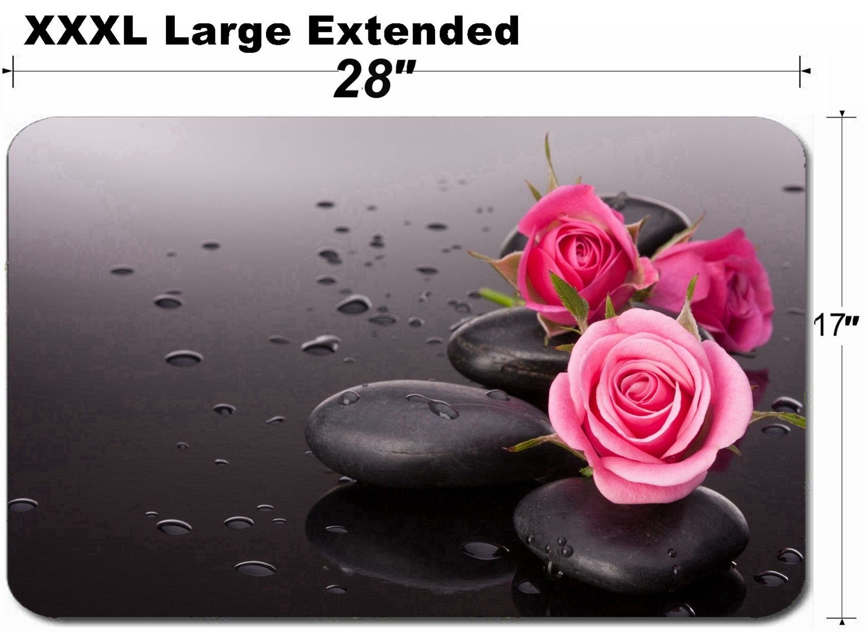 MSD Large Table Mat Non-Slip Natural Rubber Desk Pads Image 26105316 Spa Stone and Rose Flowers Still Life Healthcare Concept