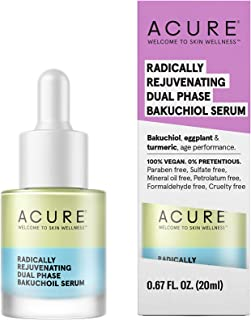 product image for Acure Radically Rejuvenating Dual Phase Bakuchiol Serum | 100% Vegan | Provides Anti-Aging Support | Bakuchiol, Eggplant & Tumeric - Soothes, Hydrates & Anti Oxidant Rich | 0.67 Fl Ounce