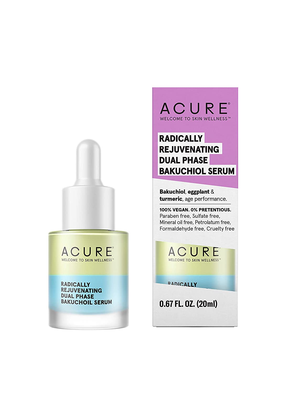 Acure Radically Rejuvenating Dual Phase Bakuchiol Serum | 100% Vegan | Provides Anti-Aging Support | Bakuchiol, Eggplant & Tumeric - Soothes, Hydrates & Anti Oxidant Rich | 0.67 Fl Ounce