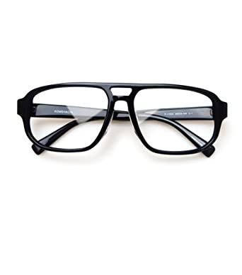 b65cc74a5f6 Komehachi - Vintage Pilot Double Bridge Acetate Prescription Glasses Frames  (Black)  Amazon.co.uk  Clothing