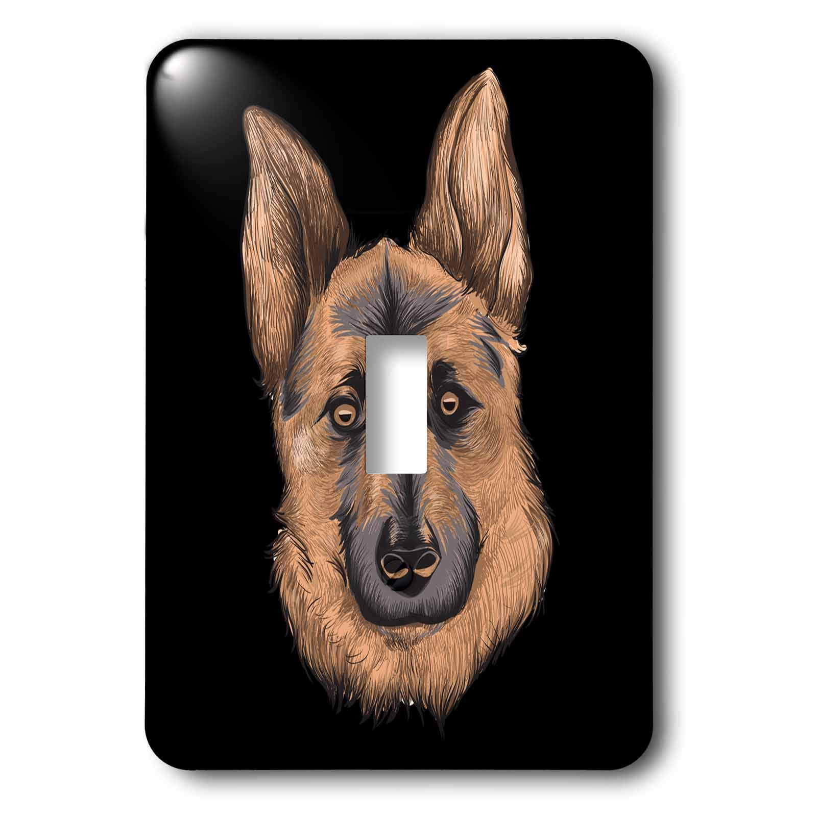 3dRose Sven Herkenrath - Animal - Portrait of a Gorgeous German Shepherd Dog on Black Background - Light Switch Covers - single toggle switch (lsp_290744_1)