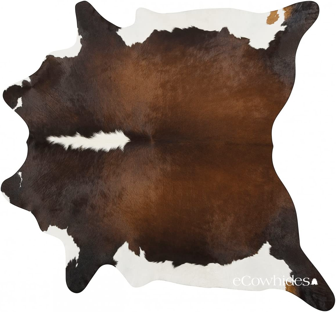 eCowhides Chocolate and White Brazilian Cowhide Area Rug, Cowskin Leather Hide for Home Living Room Large 6 x 6 ft