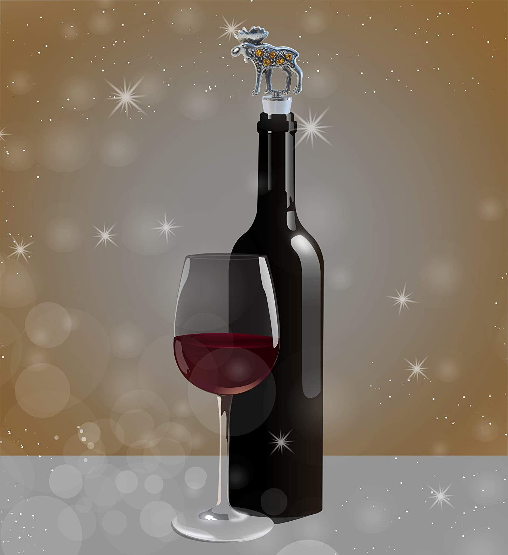 Cheers Moose Metal Wine Stopper Airtight Leak Proof Bottle Topper Cork Plug Cute Home Decor /& Bar Tool Accessory Unique Gift Elegant Vacuum Seal Reusable Elk Wild Life Animal Wine Bottle Stopper