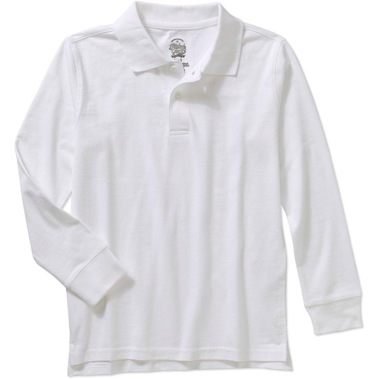 Faded Glory Boys White Cotton Long Sleeve Polo Shirt Small 6/7