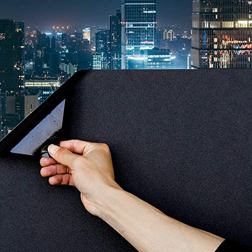 Static Cling Total Blackout Window Film 100 UV Blocking Window Darkening Film Best Black Window Tint Removable Plastic Glass Covering 35.4×236.2 inches