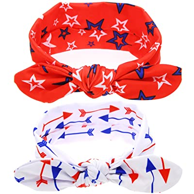 Baby Girl's Hairband Elastic Hair Hoops Headbands Buddy Ears with Red and White - 2 Pack