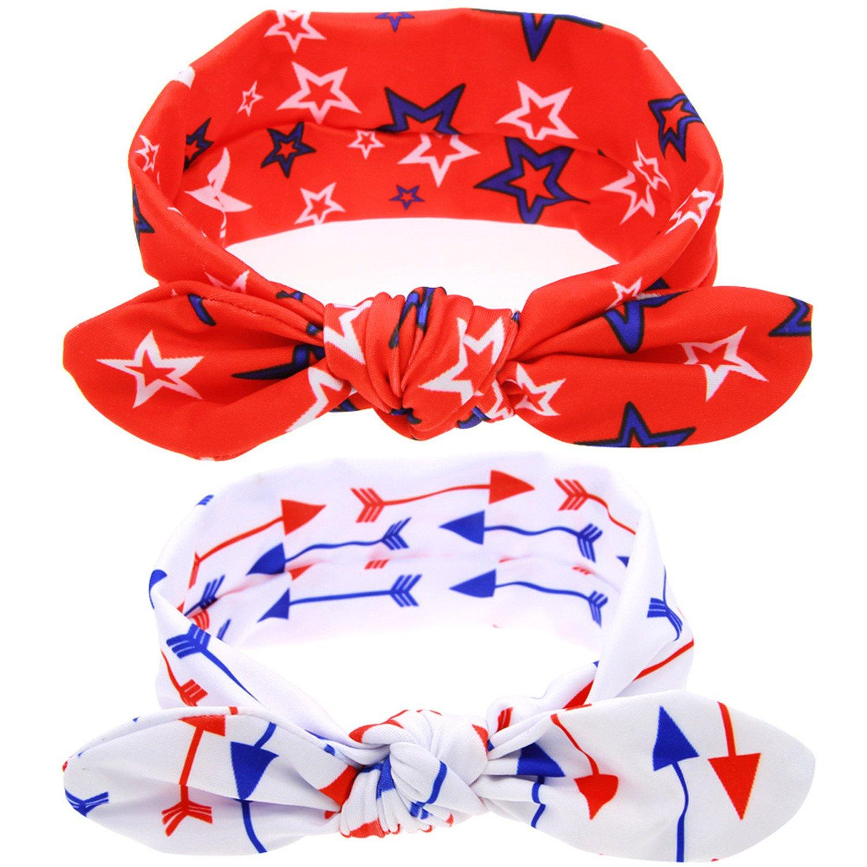 赤ちゃんの女の子のヘアゴムカチューシャヘアフープヘッドバンドBuddy耳白と赤 – 2パック B06Y681ZY6