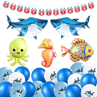 ETLEE Shark Birthday Party Decoration - Giant Sea Animals Balloons & Happy Birthday Banner & Latex Balloons for Ocean Theme Birthday Party Decorations: Toys & Games