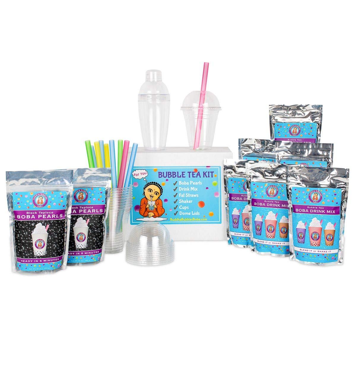 The ULTIMATE DIY Boba / Bubble Tea Kit, 60+ Drinks, 6 Flavors, Boba Pearls, Cups, Straws and Shaker (FRUITY)