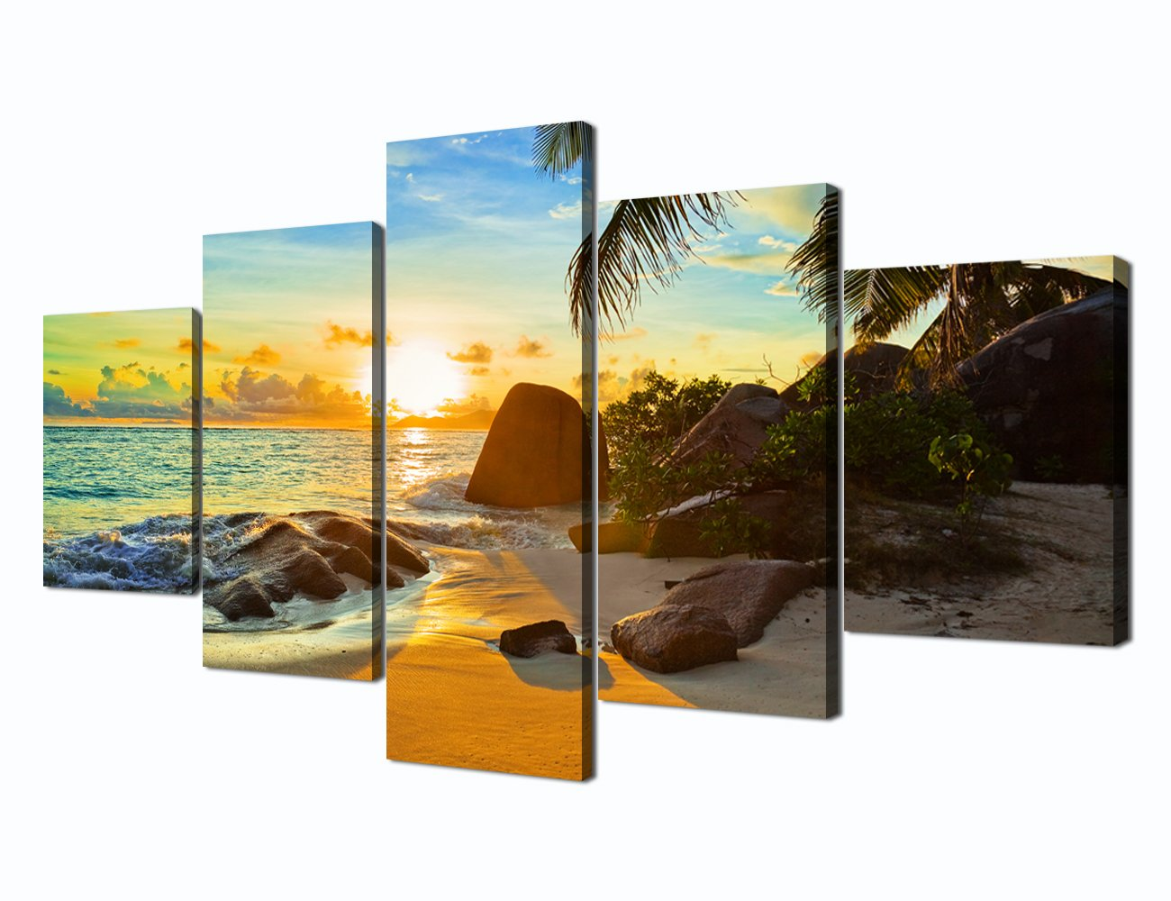 Sunset Beach Ocean Painting on Canvas 5 Panel Wall Art, Modern Landscape  Scenery Seascape Posters and Prints Pictures for Living Room Bedroom, ...
