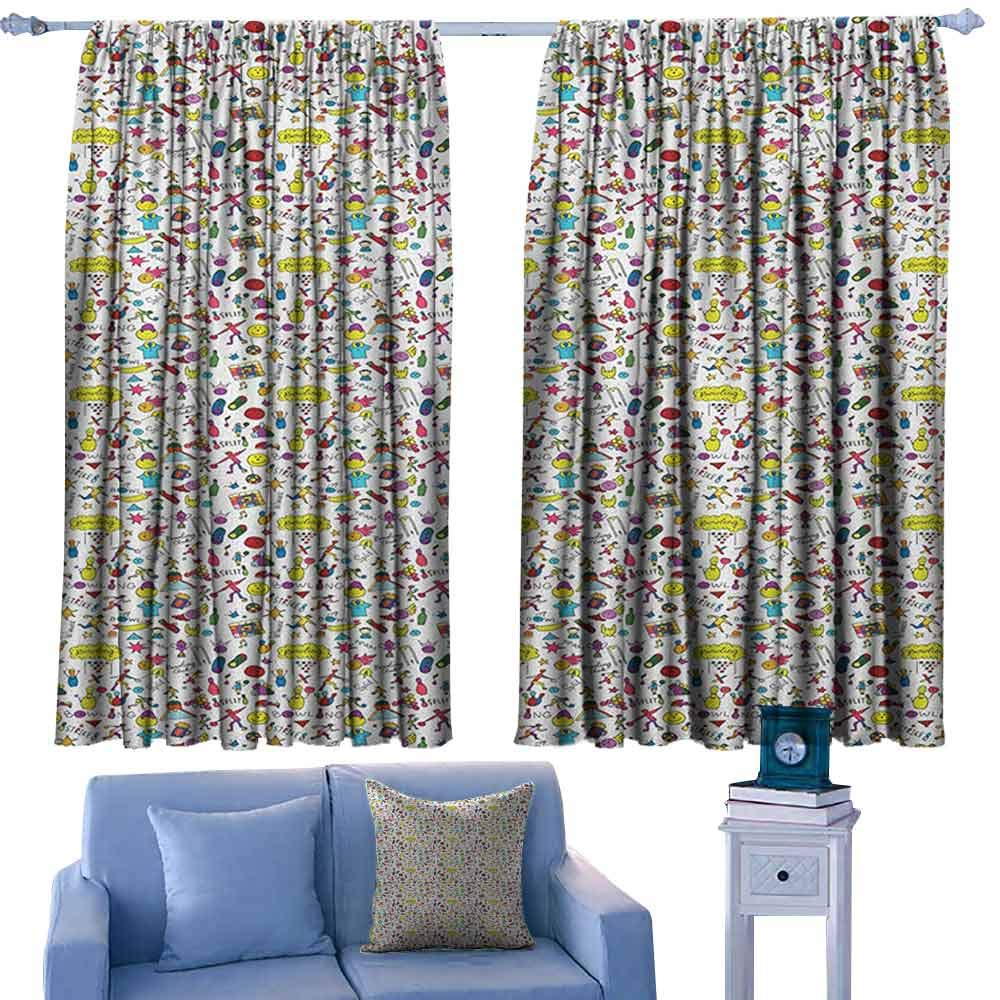 Bowling Customized Chid Curtains Cartoon Style Cheerful Hobby Pattern for Toddler and Children with Colorful Design,2 Panels Bedroom Kitchen Curtains,W42 x L45 Inch by ParadiseDecor
