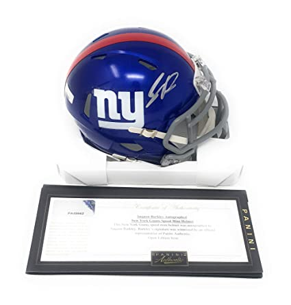 00b1a096738 Saquon Barkley New York Giants Signed Autograph Speed Mini Helmet Panini  Authentic Certified