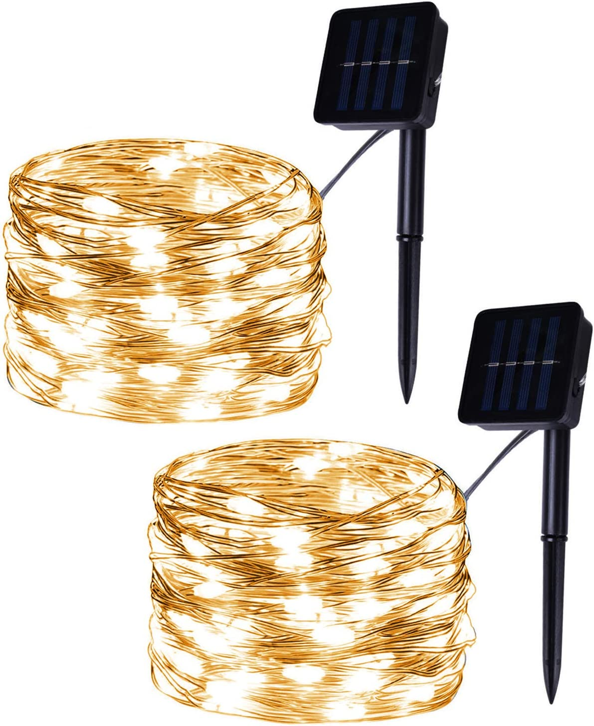Set of 2 Flexible 100-LED Solar Powered Copper Wire String Lights, Warm White Fairy Lights, 8 Modes Christmas Lights for Outdoor, Room, Party, Garden Decor
