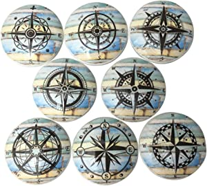 Set of 8 Blue and Yellow Weathered Wood Compass Nautical Wood Cabinet Knobs