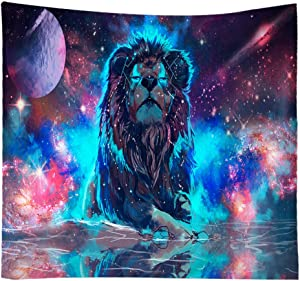 Stylish Trippy Lion Tapestry Wall Hanging Décor, Hippie Universe Psychedelic Constellation Tapestries Wall Art for Decor, Mural Bedding Tapestry Table Cloth Beach Shawl Coverlet Picnic Blanket
