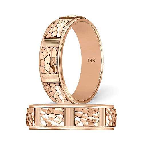 Amazon Com Tousiattar Mens Rose Gold Wedding Band Handmade 14k Or
