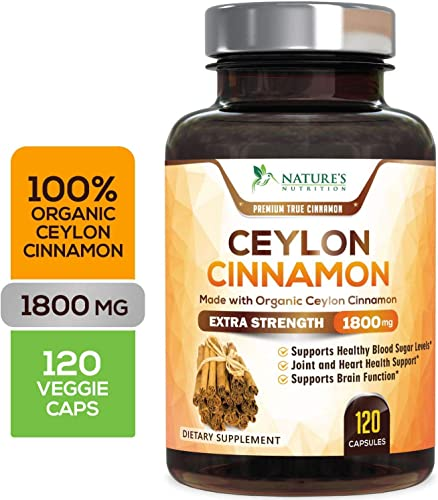 Certified Organic Ceylon Cinnamon Made with Organic Ceylon Cinnamon 1800mg – Organic Sri Lanka Ceylon Cinnamon Powder Pills – Made in USA – Best Vegan Blood Sugar Support Supplement – 120 Capsules