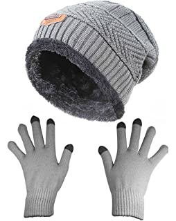 7c16ac051c6 HINDAWI Slouchy Beanie Gloves for Women Winter Hat Knit Warm Snow Skull Cap  Touch Screen Mittens