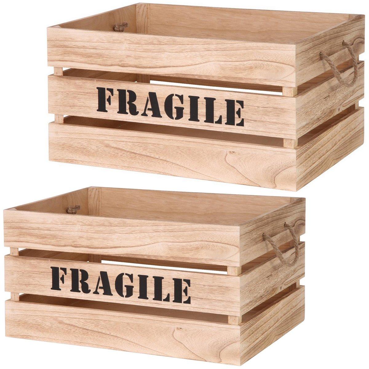Lot De 2 Cagette Boite De Rangement Design Cageot Gigogne Authentique Bois Naturel Inscription Fragile Promobo