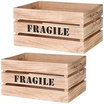 Promobo Lot De 2 Cagette Boite De Rangement Design Cageot