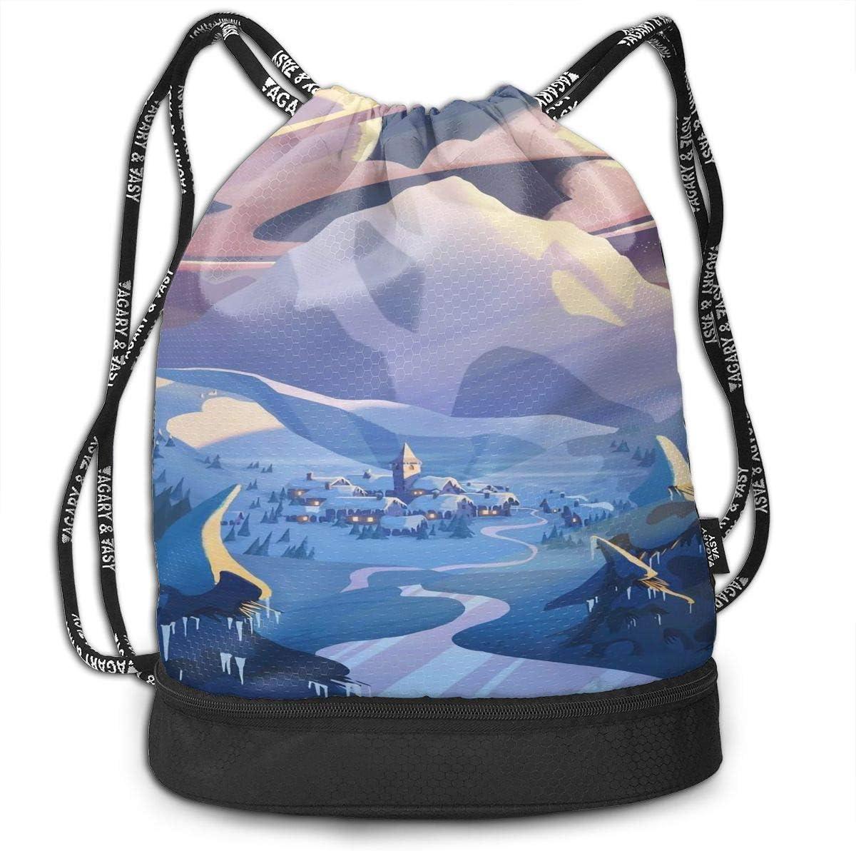 Drawstring Backpack Snow Mountain Mural Gym Bag