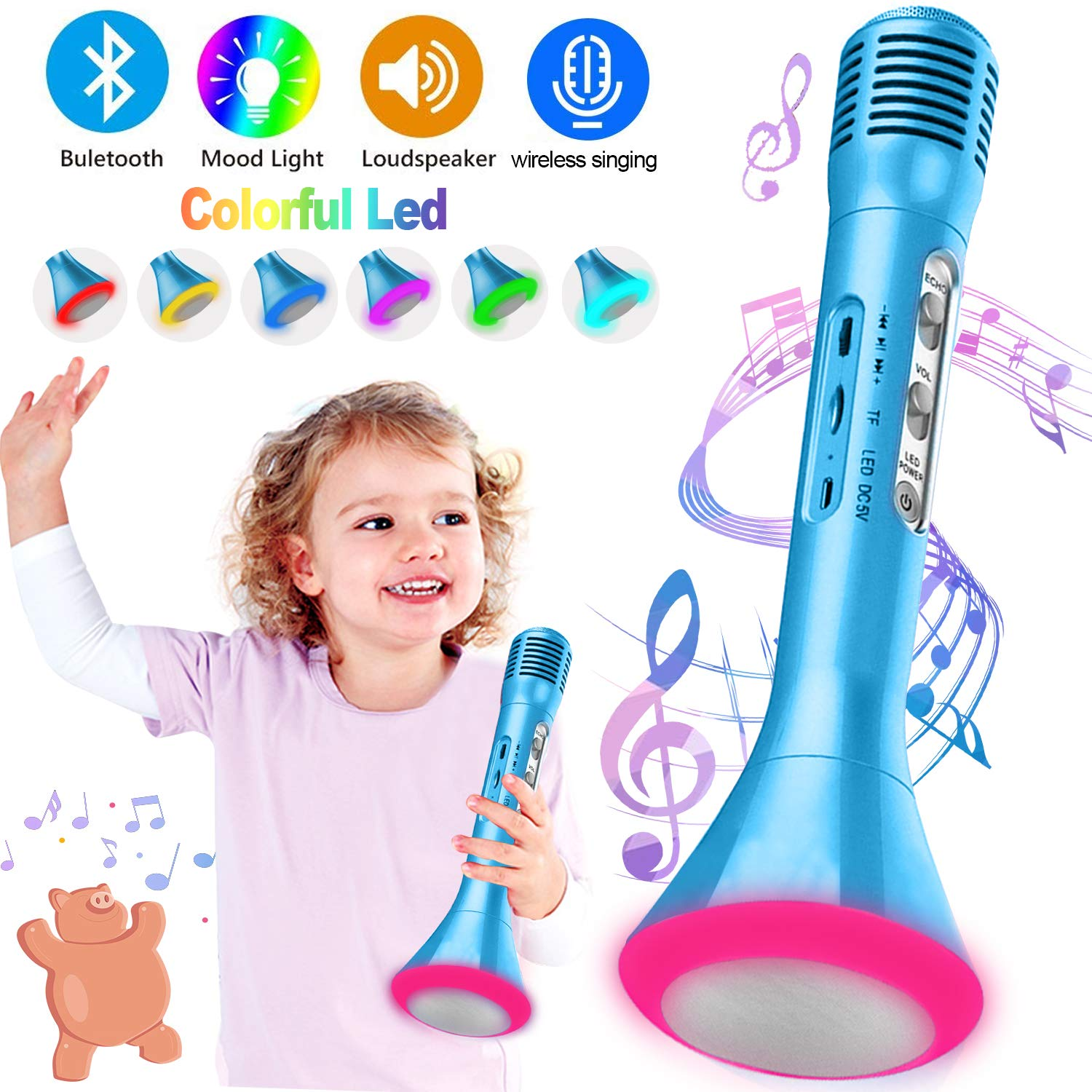 Kids Karaoke Machine Wireless Singing Microphone with Bluetooth Speaker Colorful LED Lights Handheld Portable Music Playing Toys  for Girls Boys Home Party KTV Xmas Birthday Gifts Andriod iOS PC iPad by Santery (Image #1)