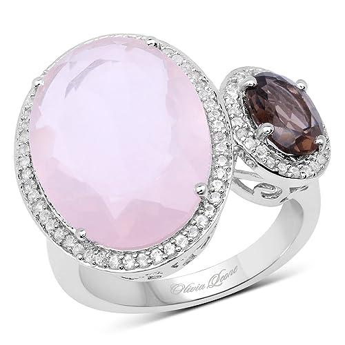 8.24 Carat Genuine Rose Quartz, Smoky Quartz and White Topaz .925 Sterling Silver Ring