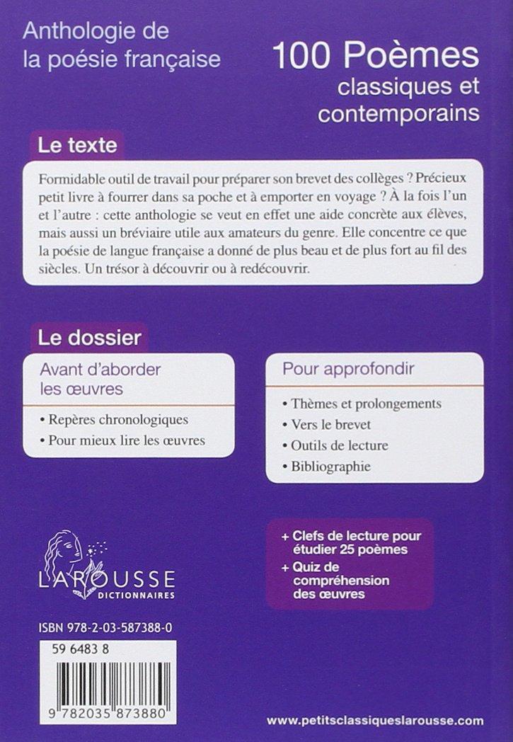 100 Poèmes Classiques Et Contemporains Anthologie De La