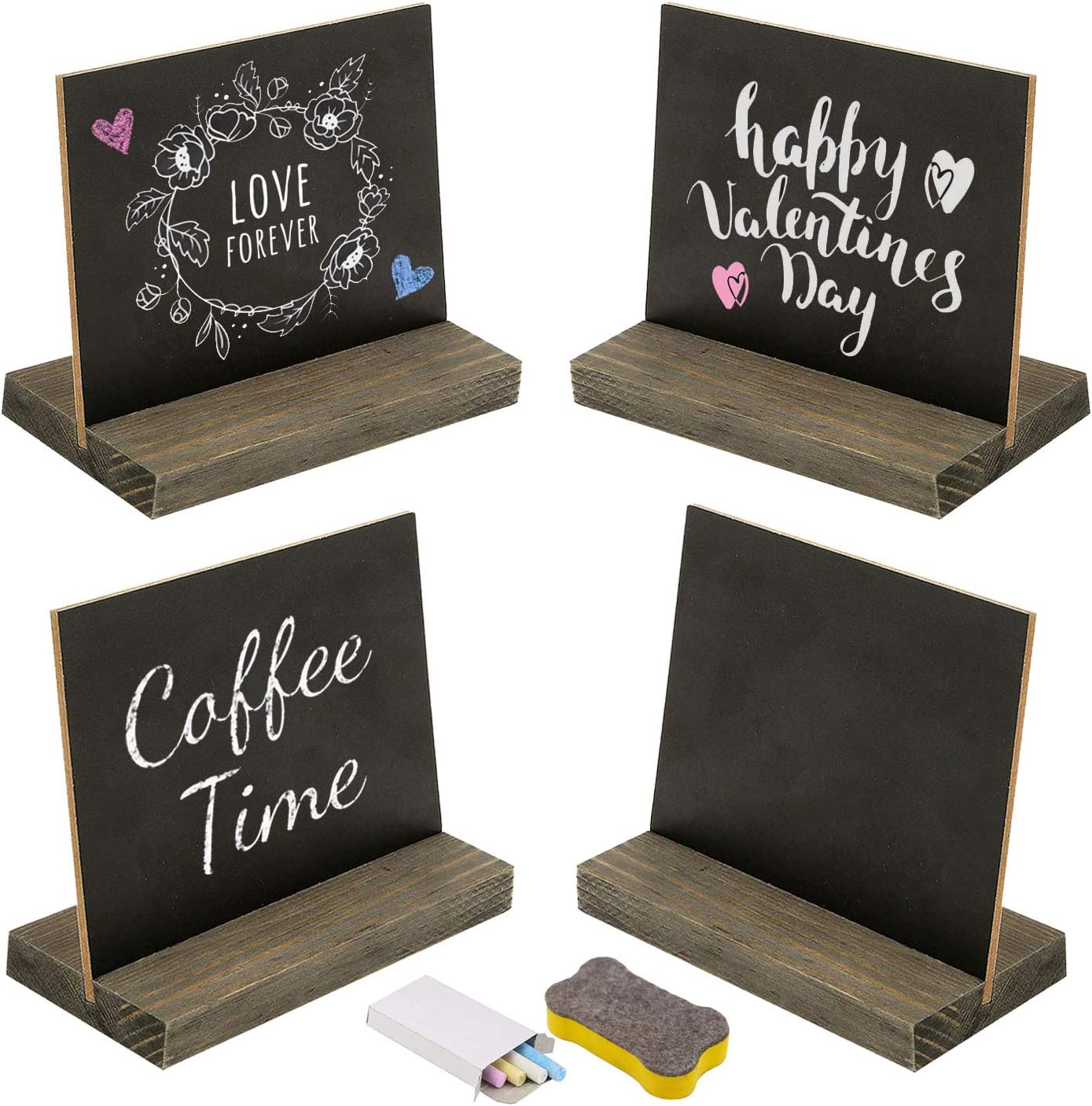 6 Chalkboard Black Card Cone Party Hats