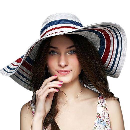 33f35fd983f Koola s hats Women Sun Hats Summer Floppy Wide Brim Straw Portable Beach Hat  at Amazon Women s Clothing store