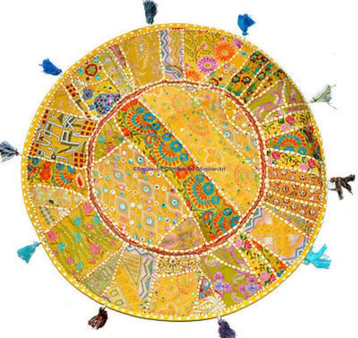 Sophia Art Round Floor Pillow Cushion Patchwork Pouf Ottoman Vintage Indian Foot Stool Bean Bag Floor Pillow Cover Home Decor Living Room Ottoman Bohemain Pillows Lemon Yellow, 40 Inch