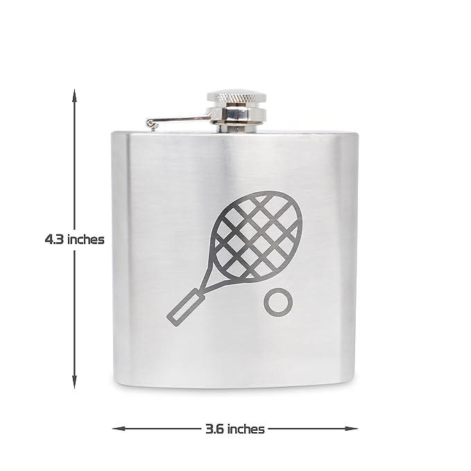 Petaca de acero inoxidable con grabado de pelota de raqueta, 6 ...