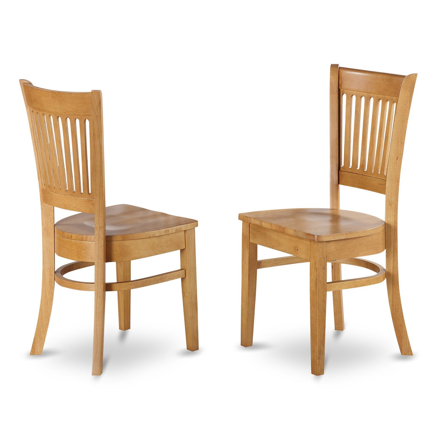East West Furniture VAC-OAK-W Wood Seat Kitchen/Dining Chairs, Oak Finish, Set of 2