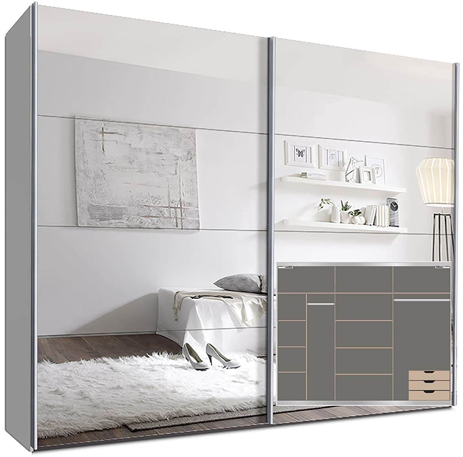 schwebet renschrank switchbox 270 cm wei mit spiegelt ren inkl zubeh r g nstig. Black Bedroom Furniture Sets. Home Design Ideas