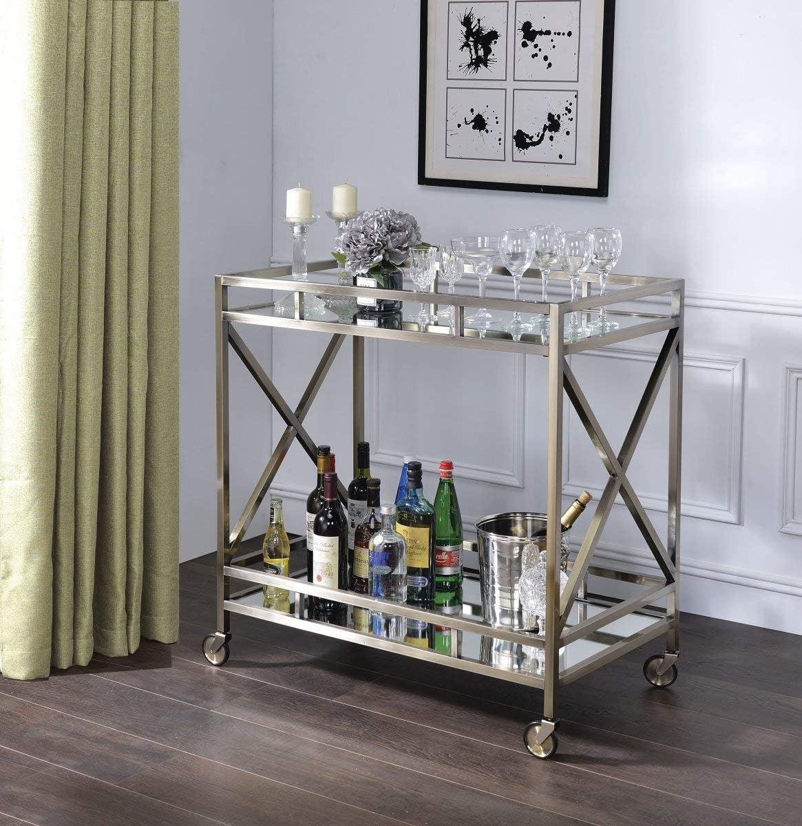ACME Furniture Kristensen cart, Antique Gold Mirror