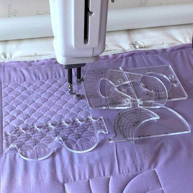 N/ähmaschinen-Lineal-Set Acryl-Quilting-Vorlage Quilt-Lineal 6-teiliges Quiltschablonen-Set mit freien Bewegungen