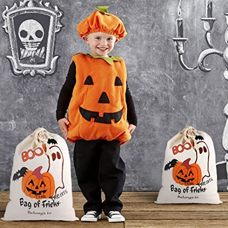 54d13c97a5 Amazon.com  PartyTalk 2pcs Halloween Trick or Treat Bags for Kids ...