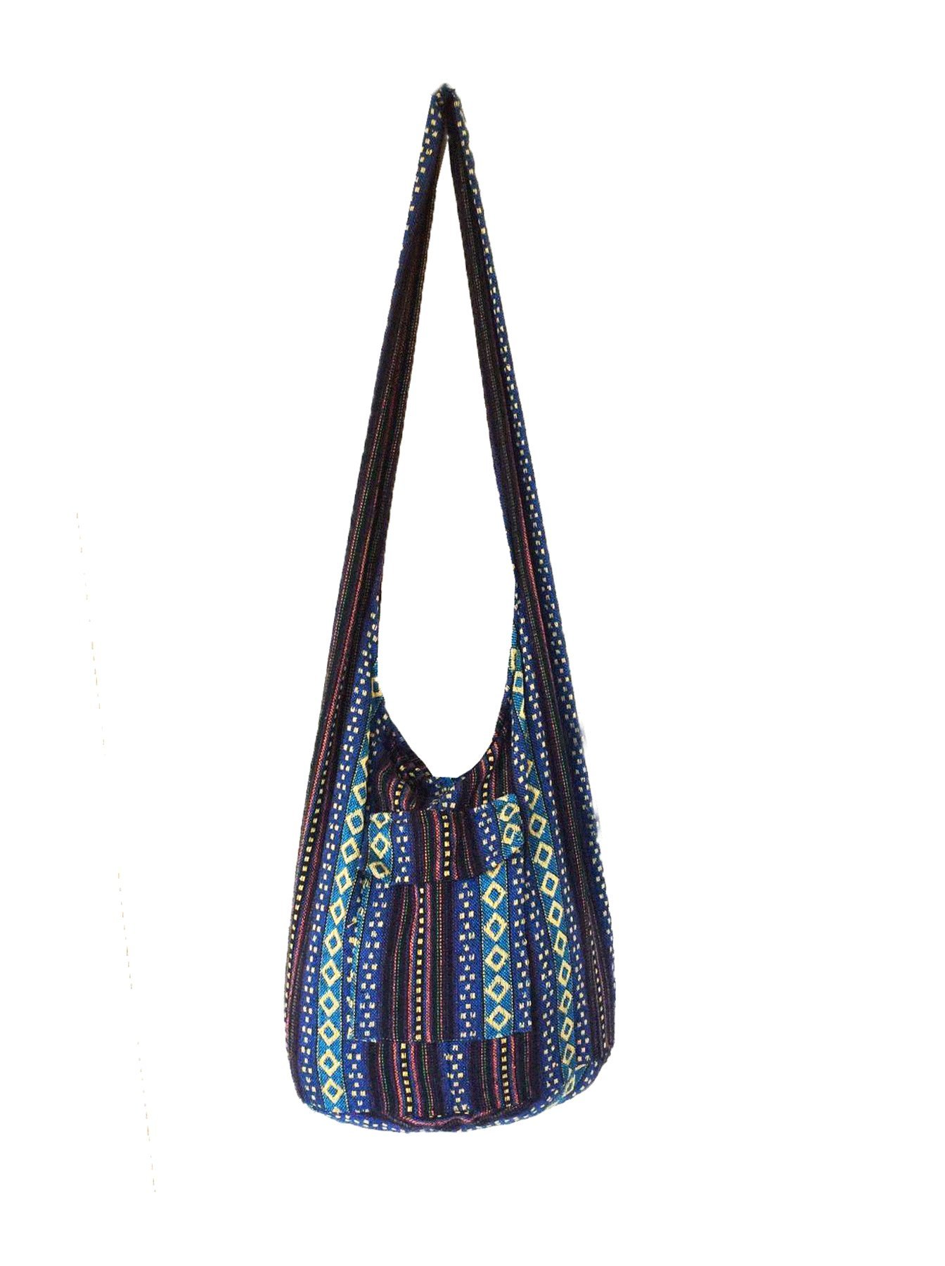 Thai Tribal Hmong Boho Striped Ethnic Cotton Boho Sling Crossbody Bag Shoulder Bag Thai Pattern Bag Thai Top Zip Handmade Asia Bag (Stripe Blue1)