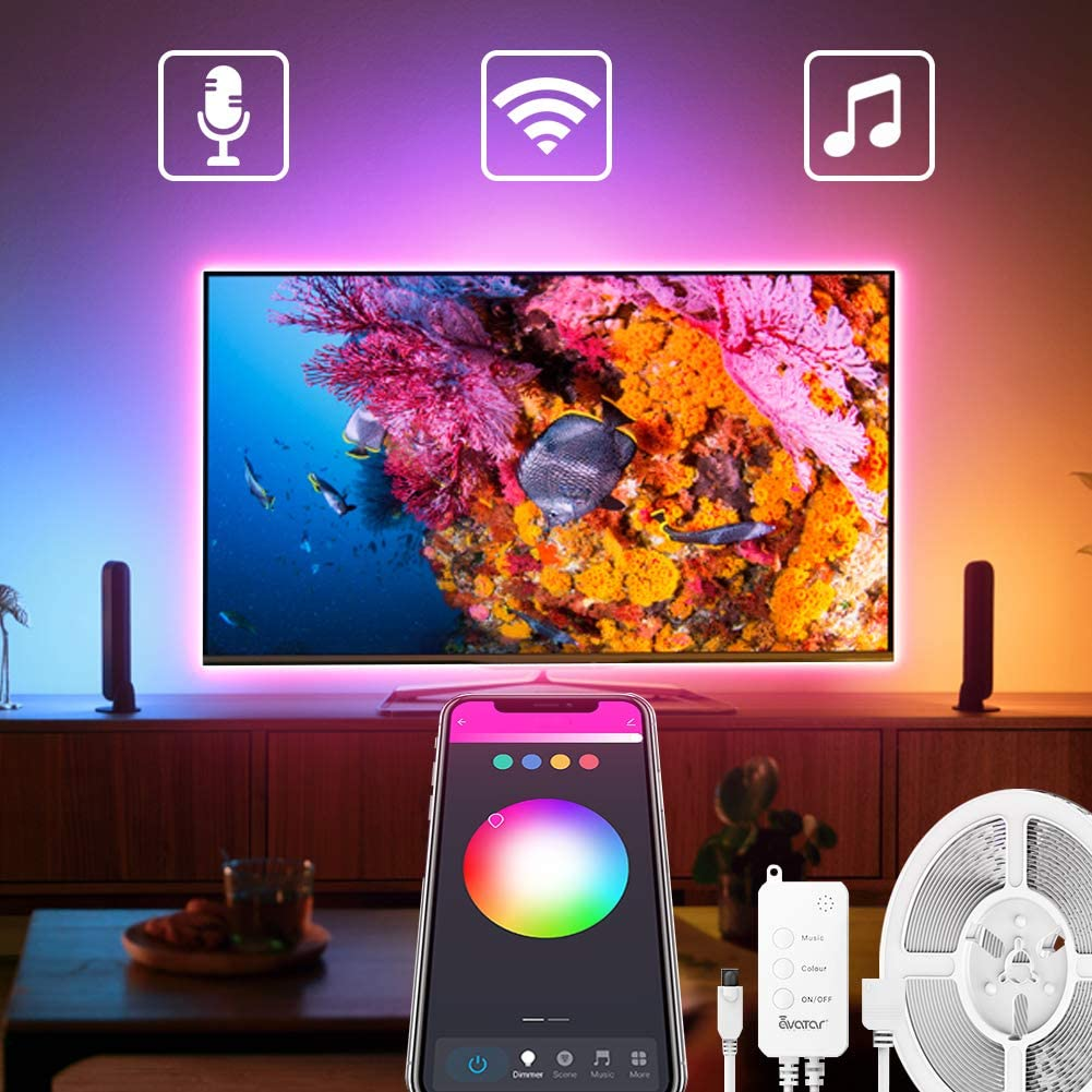 Avatar Controls WiFi Smart TV LED Backlights 9.8Ft Compatible with Alexa Google Home, Music Sync USB Powered(Extra Remote) ASL04, Multicolor