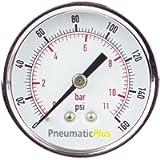 PneumaticPlus PSB20-160CP Air Pressure Gauge for Air Compressor WOG Water Oil Gas Chrome Plated 2' Dial Center Back…