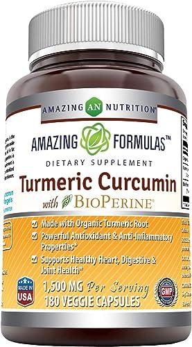 Amazing Formulas Turmeric Curcumin BioPerine 1500 Mg Per Serving Veggie Capsules 180 Veggie Capsules – -Powerful Antioxidant AntiInflammatory Properties.