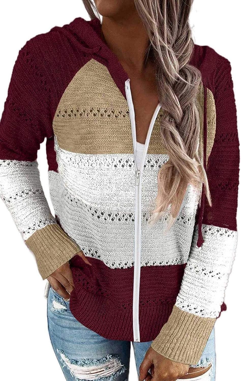 Biucly Women's Casual Long Sleeve Zip Up Hoodie Jacket Lightweight Drawstring Color Block Knitted Sweatshirt