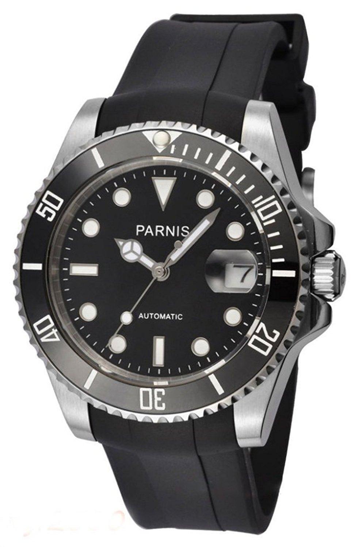 メンズ自動機械腕時計サファイアガラスセラミック回転ベゼルブラックゴムストラップブレスレット腕時計 シルバーブラック B075PQFCDT シルバーブラック シルバーブラック