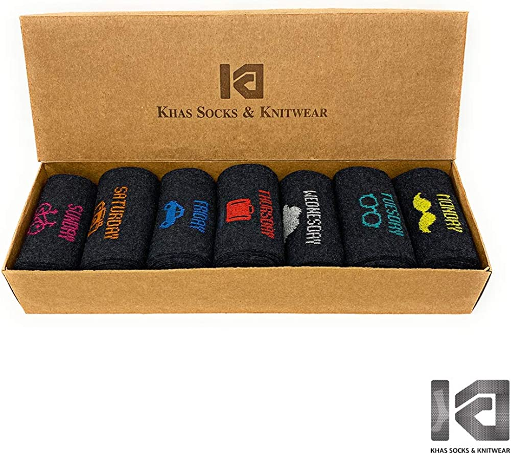 Exclusively Designed for Everyday of the Week in Gift Box Khas Premium Cotton Extra Comfort Casual Crew Dress Socks for Men