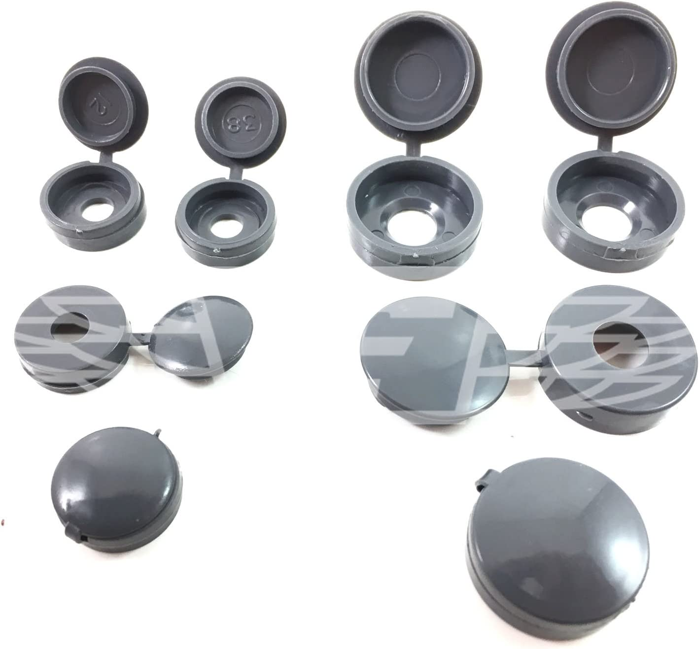 500 x SMALL 6/'s - 8/'s SILVER GREY GUNMETAL TOP QUALITY HINGED SCREW COVER CAP